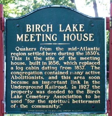 Birch Lake Meeting House Marker image. Click for full size.