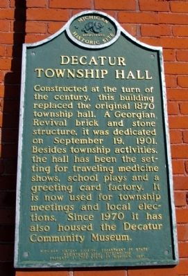 Decatur Township Hall Marker image. Click for full size.