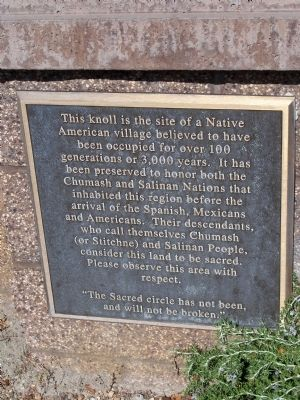 Chumash and Salinan Nations Village Site Marker image. Click for full size.