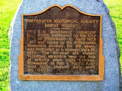 Whitewater Historical Society Depot Museum Marker image. Click for full size.