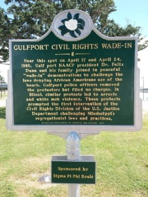 Gulfport Civil Rights Wade-In Marker image. Click for full size.