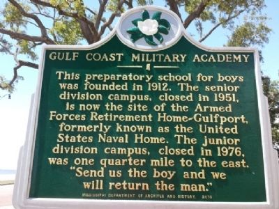 Gulf Coast Military Academy Marker image. Click for full size.