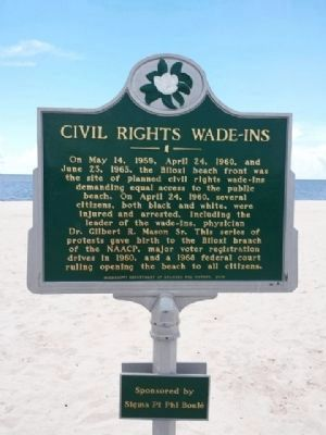 Civil Rights Wade-Ins Marker image. Click for full size.