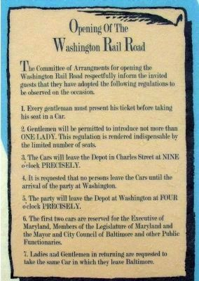 "B & O Railroad Regulations for the 1835 Opening of the ""New"" Washington Line image. Click for full size."