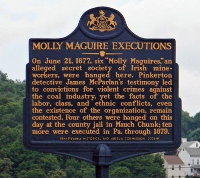Molly Maguire Executions Marker image. Click for full size.