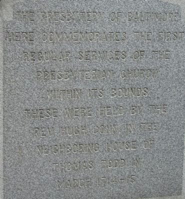 The Presbytery of Baltimore Marker image. Click for full size.