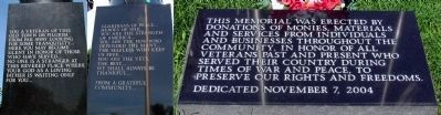 Inscriptions on the Niles Veterans Memorial image. Click for full size.