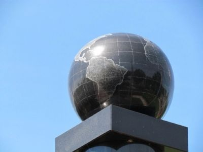 Globe on top of Niles Veterans Memorial image. Click for full size.