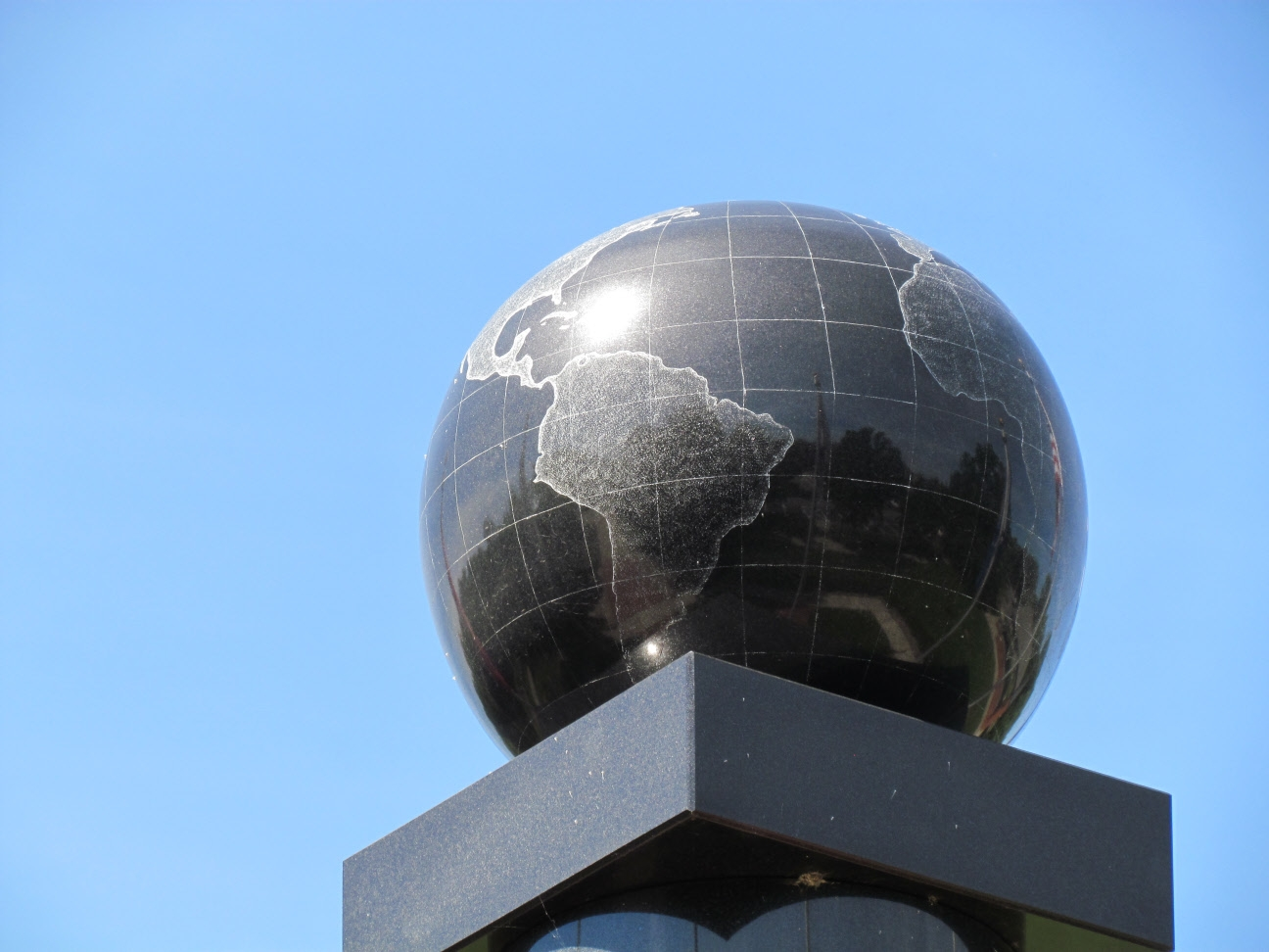 Globe on top of Niles Veterans Memorial