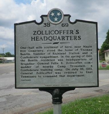 Zollicoffer's Headquarters Marker image. Click for full size.