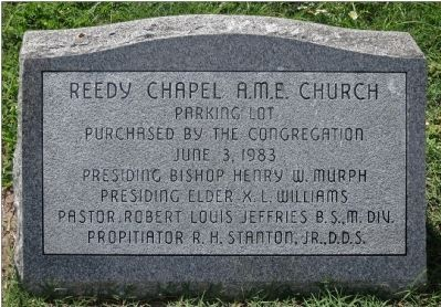 Reedy Chapel A. M. E. Church Monument to the Parking Lot image. Click for full size.