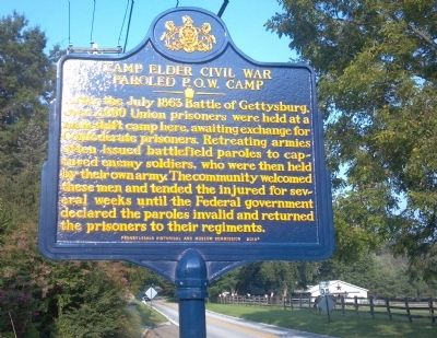 Camp Elder Civil War Paroled P.O.W. Camp Marker image. Click for full size.