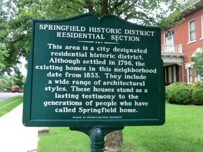 Springfield Historic District Residential Section Marker image. Click for full size.