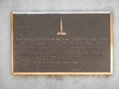 The Bing Boisen Memorial Lighthouse Lens Plaque image. Click for full size.
