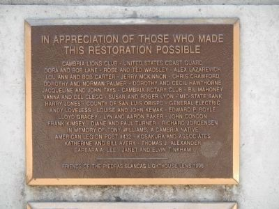 In Appreciation of Those Who Made This Restoration Possible Plaque image. Click for full size.