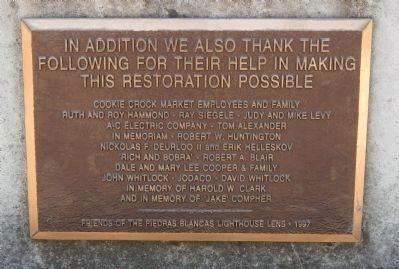 In Addition We Also Thank the Following For Their Help in Making This Restoration Possible Plaque image. Click for full size.