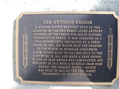 The Rutgers Bridge Marker image. Click for full size.