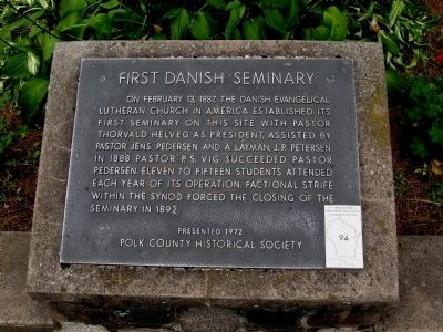 First Danish Seminary Marker image. Click for full size.