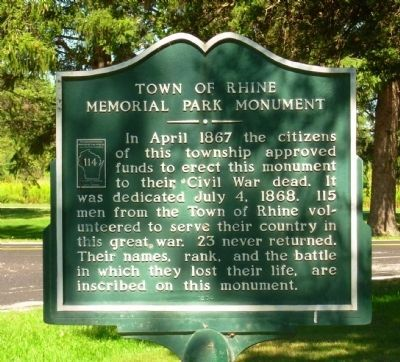 Town of Rhine Memorial Park Monument Marker image. Click for full size.