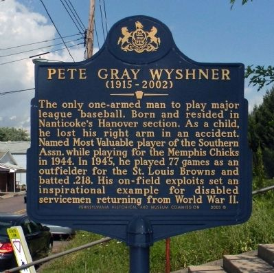 Pete Gray Wyshner Marker image. Click for full size.