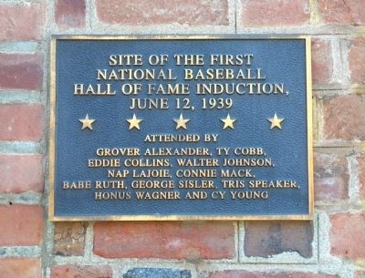 Site of the First National Baseball Hall of Fame Induction Marker image. Click for full size.