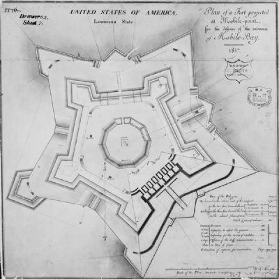 Drawn Plans of Fort Morgan by Captain William Tell Paupin, 1817 image. Click for full size.