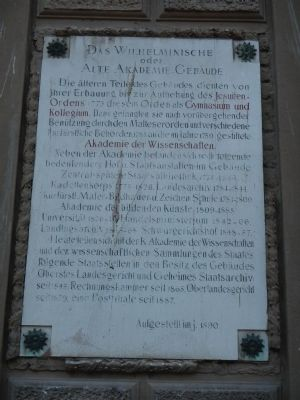 The Wilhelminische or Old Academy Building Marker, panel 2 image. Click for full size.