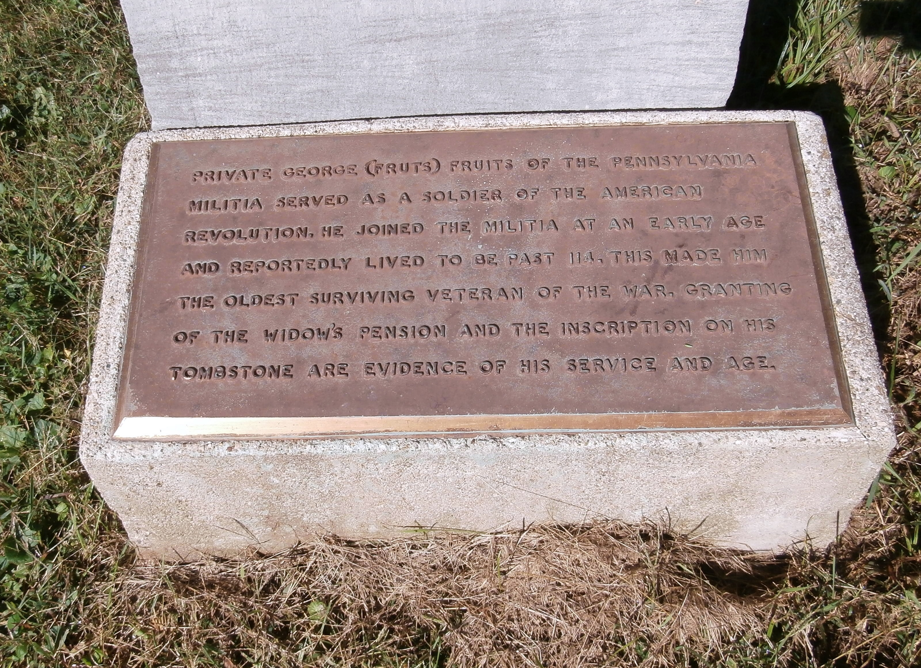 Oldest Surviving Veteran of American Revolution Marker