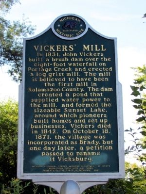 Vickers' Mill Marker image. Click for full size.
