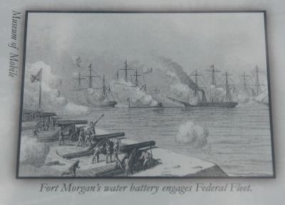 Center Right Image: Fort Morgan's water battery engages Federal Fleet. (Museum of Mobile) image. Click for full size.