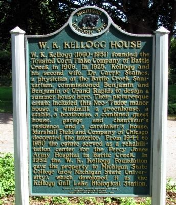W.K. Kellogg House Marker image. Click for full size.