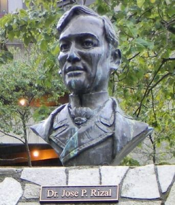 Bust of Dr. José P. Rizal, the martyred father of Philippine independence, in Juneau's Manila Square image. Click for full size.