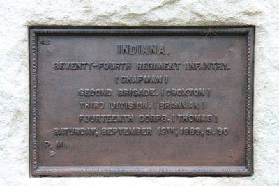 74th Indiana Infantry Marker image. Click for full size.