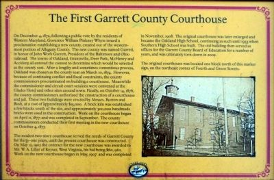 The First Garrett County Courthouse Marker image. Click for full size.