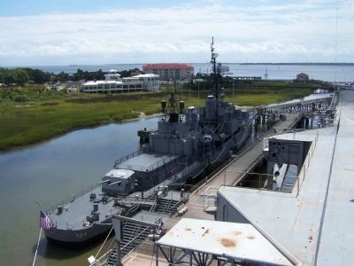 U.S.S. Laffey Marker and current Mount 53 located near the gangway in foreground image. Click for full size.