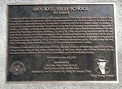 San Jose High School Marker image. Click for full size.
