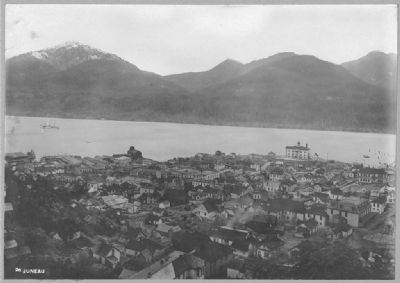 "<i>Juneau: View of City, Mountains and Cableship ""Burnside"" in Channel </i> image. Click for full size."