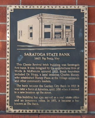 Saratoga State Bank Marker image. Click for full size.