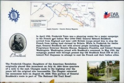 The Braddock-Washington Monument Marker image. Click for full size.