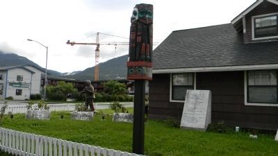 Totem Pole at the Alaska Native Veterans Memorial Site image. Click for full size.