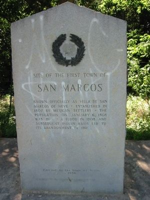 Site of the First Town of San Marcos Marker image. Click for full size.