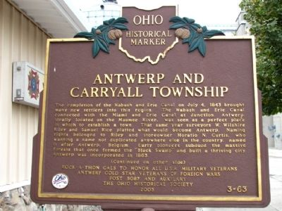 Antwerp and Carryall Township Marker image. Click for full size.