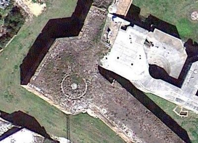 Overhead view of the remains of the Panama Mount on Bastion #4 image. Click for full size.