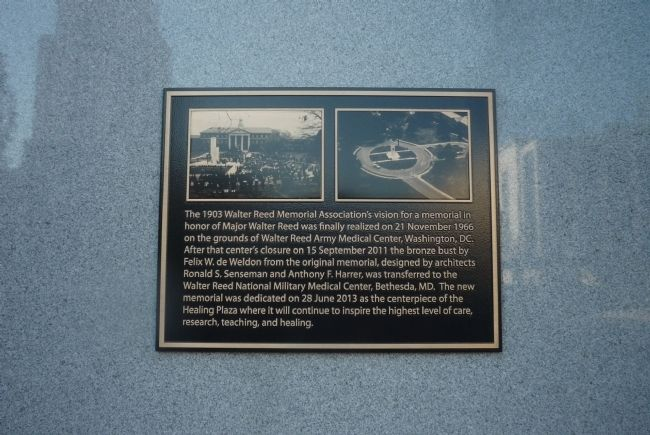 Walter Reed Monument - close-up of plaque on south face of monument image. Click for full size.