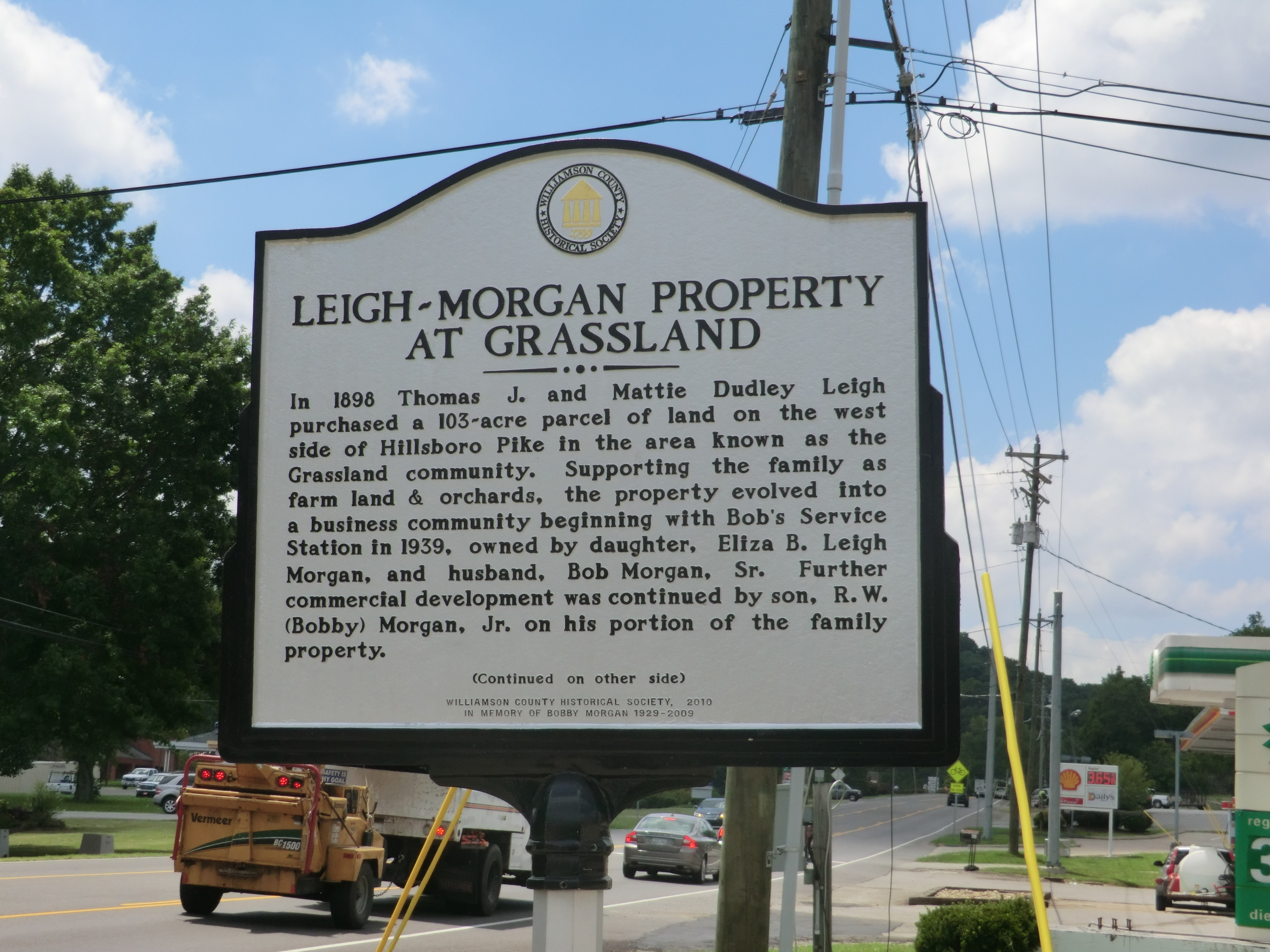 Side One - - Leigh-Morgan Property at Grassland Marker