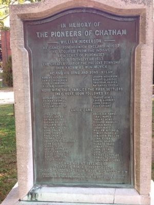 In Memory of the Pioneers of Chatham Marker image. Click for full size.