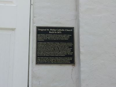 Original St Philip Catholic Church Marker image. Click for full size.