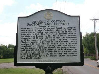 Franklin Cotton Factory and Foundry Marker (side 1) image. Click for full size.