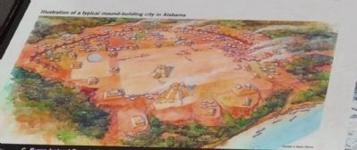 Illustration of a typical mound-building city in Alabama image. Click for full size.