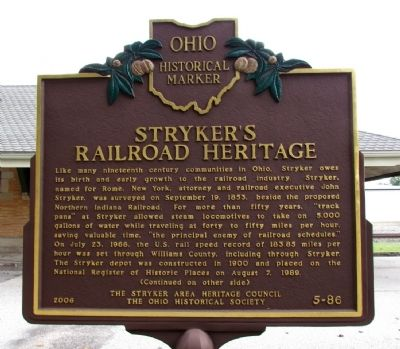 Stryker's Railroad Heritage Marker image. Click for full size.